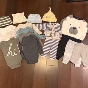 Lot of 18 newborn boys clothes most never worn
